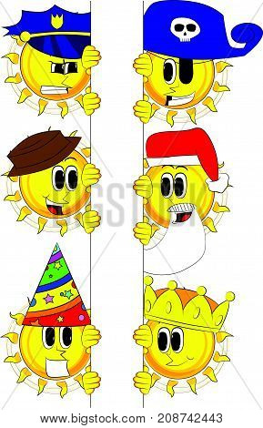 Cartoon sun holding blank sign. Collection with costume. Expressions vector set.