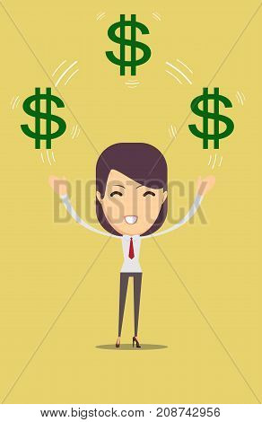 Happy woman enjoying of money. Stock vector illustration for poster, greeting card, website, ad, business presentation, advertisement design.