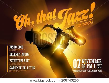 Vector Jazz Horizontal Poster. Silhouette of Saxophone Player against a Stage Gold Neon Light. Live Jazz Performance. Music Poster Template for Concert Night Club Festival Flyer Ticket.