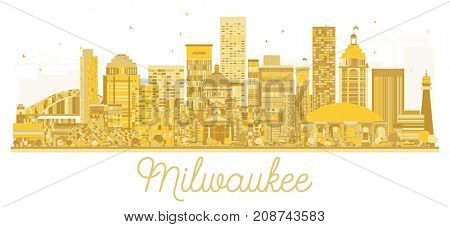 Milwaukee City skyline golden silhouette. Cityscape with landmarks.