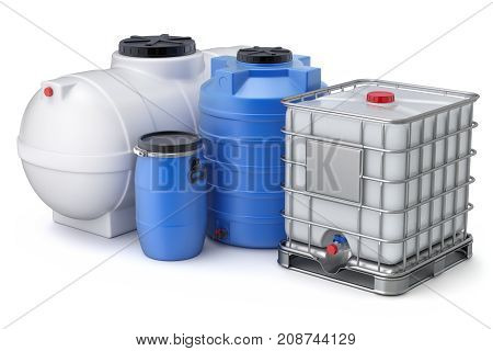 Different types of plastic water storage tank on white background - 3D illustration