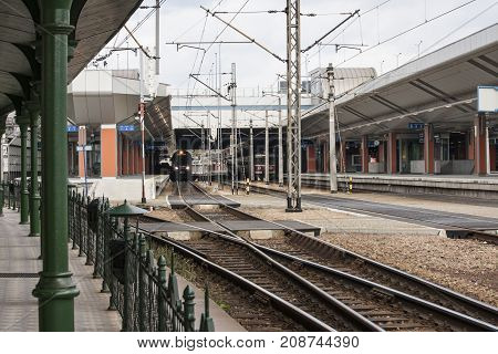 Central train station Cracow Poland - October 13 2017: The train is waiting for passengers Central Train Station Cracow Poland.