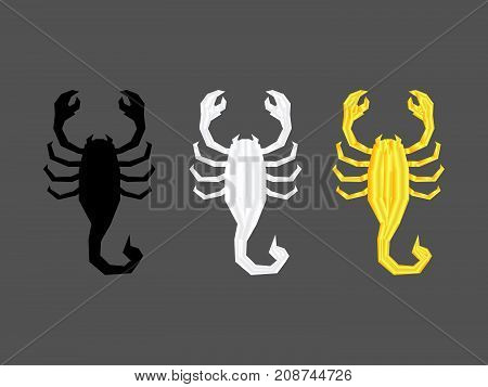 Black silver and gold scopions isolated Scorpion silhouette icon on gray background sign symbol vector illustration.