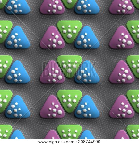 3D render of plastic background tile with embossed three triangles ornament