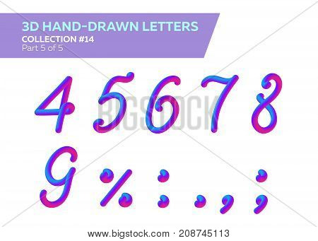 3D Rounded Headline Font. Neon Bubble Typeset with Painted Letters. Matte Pink and Blue Colors. Neon Tube Hand-Drawn Lettering. Great for Music Poster Sale Banner Advertising. Isolated on White.