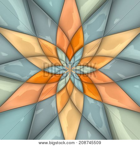 3D rendering combo artwork with glossy puffs fractal star flower