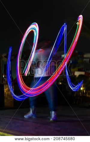 Night light show abstract color lines photo