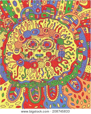 Mayan face. Doodle colorful coloring page for adults with maya.