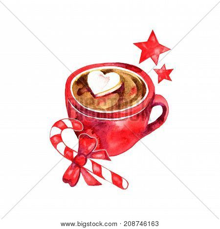 Winter hot drink, cacao with marshmallows. Cup of hot chocolate with marshmallows and cinnamon. Traditional beverage for winter time. Watercolor illustration.