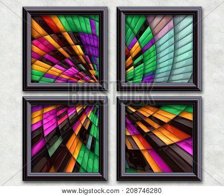 3D rendering puff pixels fractal rainbow beams artwork gallery in elegant frames