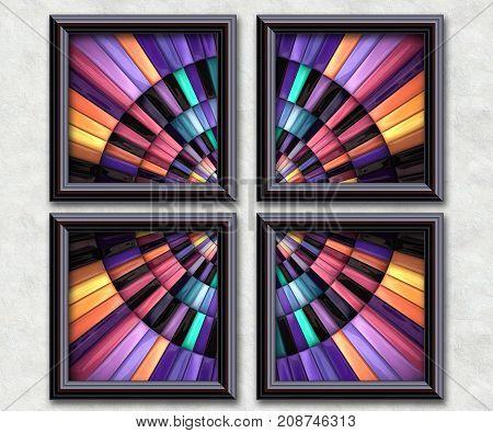 3D rendering puff pixels concentric circle artwork gallery in elegant frames