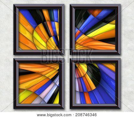 3D rendering puff pixels glossy fractal artwork gallery in elegant frames