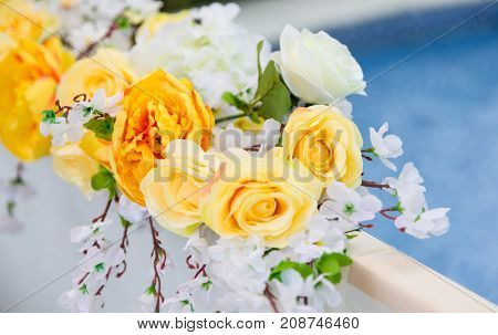 Beautiful color full flowers in wedding and event
