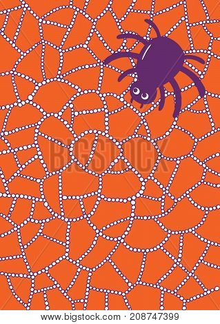 Halloween illustration with spider and web in waterdrops or raindrops. Doodle cartoon art with nature and insect.