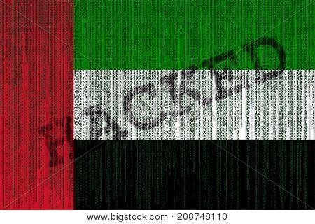 Data Hacked Uae Flag. United Arab Emirates Flag With Binary Code.