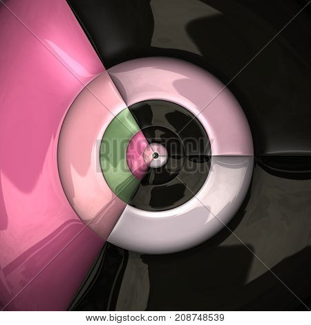 3D rendering combo artwork with hatched glossy puffs circular pattern tile