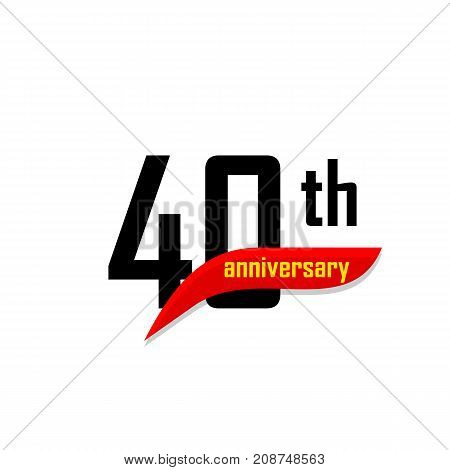 40th Anniversary abstract vector logo. Forty Happy birthday day icon. Black numbers witth red boomerang shape with yellow text 40 years