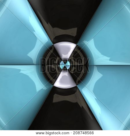 3D rendering combo artwork with blue and black circular glossy puffs pattern tile