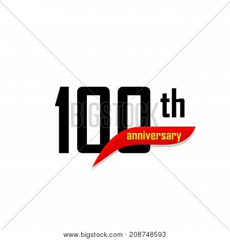 100th Anniversary abstract vector logo. One hundred Happy birthday day icon. Black numbers witth red boomerang shape with yellow text 100 years
