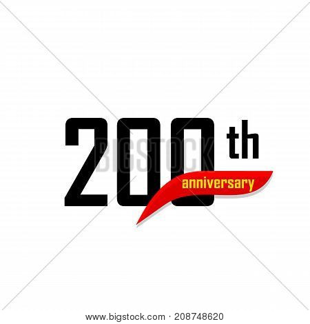 200th Anniversary abstract vector logo. Two handred Happy birthday day icon. Black numbers witth red boomerang shape with yellow text 200 years