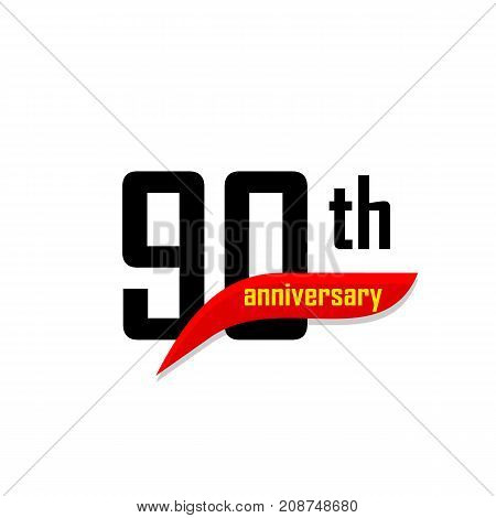 90th Anniversary abstract vector logo. Ninety Happy birthday day icon. Black numbers witth red boomerang shape with yellow text 90 years