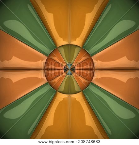 3D rendering combo artwork with glossy diferent triangles puffs pattern tile