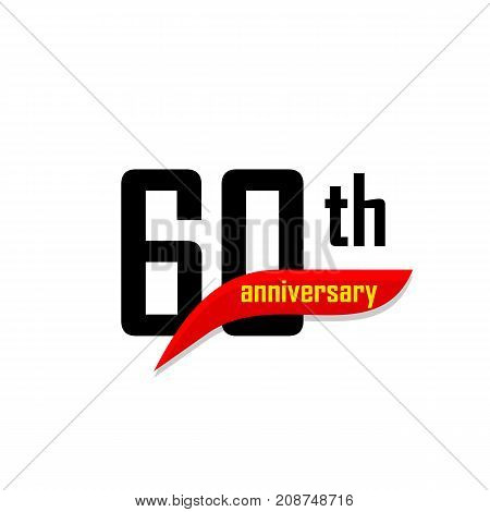 60th Anniversary abstract vector logo. Sixty Happy birthday day icon. Black numbers witth red boomerang shape with yellow text 60 years