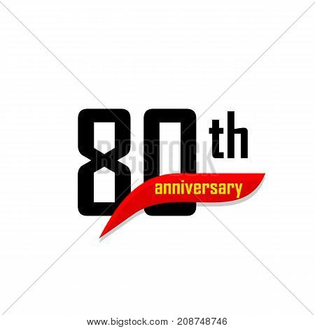 80th Anniversary abstract vector logo. Eighty Happy birthday day icon. Black numbers witth red boomerang shape with yellow text 80 years