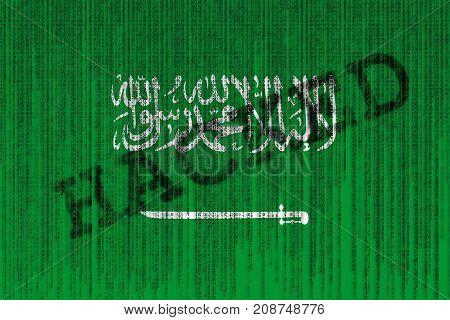 Data Hacked Saudi Arabia Flag. Saudi Arabia Flag With Binary Code.
