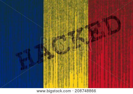 Data Hacked Romania Flag. Romanian Flag With Binary Code.