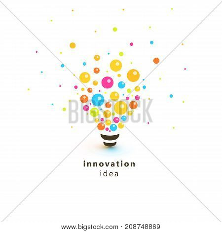 Bright colorful lightbulb, abstract Innovation idea logo. Lamp made of circles and balls scattered in the different sides as photons, particles of light, vector illustration