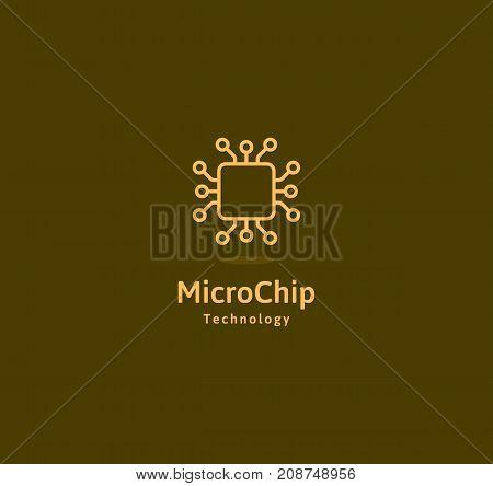 Microchip abstract linear vector logo. Microprocessor plain icon. Digital art design element. Smart technology logotype