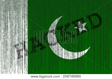 Data Hacked Pakistan Flag. Pakistan Flag With Binary Code.