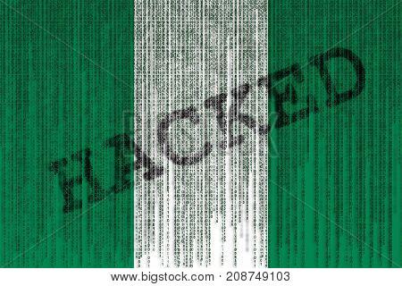 Data Hacked Nigeria Flag. Nigeria Flag With Binary Code.