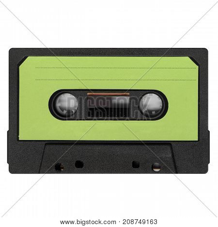 Magnetic Tape Cassette With Green Label Isolated Over White