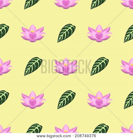 Tropical leaves summer green exotic seamless pattern jungle palm leaf nature plant botanical hawaii flora vector illustration. Tropic branch botany monsterafoliage.
