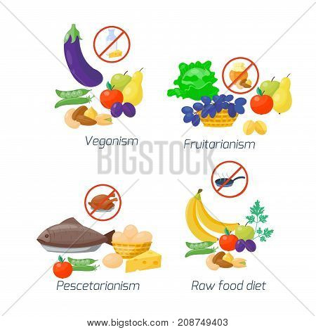 Food diet types vector illustration. Healthy nutrition concept fruits and vegetables. Kitchen menu cooking ingredient. Organic lifestyle vitamin.
