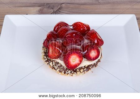 Strawberry Cake With Chocolate Served On Plate