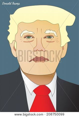 Vector portrait of Donal Trump President of the United State of America