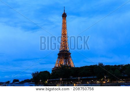 Paris France - May 27 2017: Tour Eiffel at Twilight Eiffel Tower in Paris France.