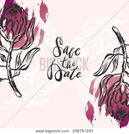 Hand drawn vector abstract modern boho tropical minimalistic save the date card template with exotic palm leaves and flower protea composition.Poster design, card, invitation, placard