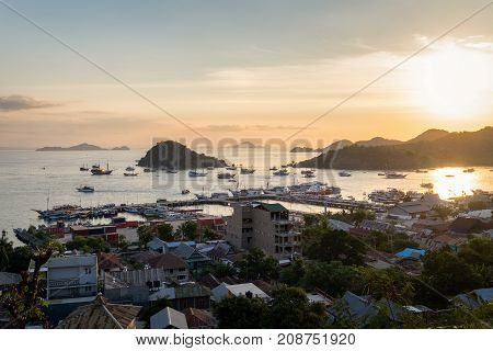 East Nusa Tenggara Indonesia - July 262017: Beautiful sunset at Labuan Bajo Port in Flores Island