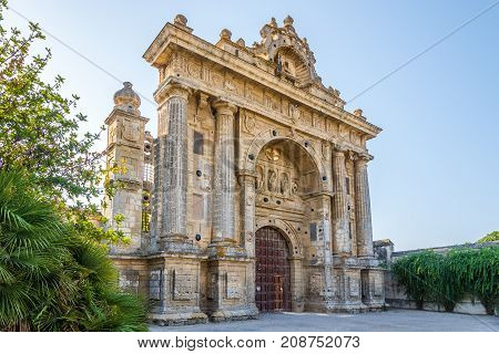 Entrance gate to charterhouse of Santa Maria de la Defension in Jerez de la Frontera - Spain