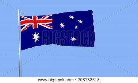 Flag of Australia on a flagpole fluttering in the wind on a pure blue background 3d rendering