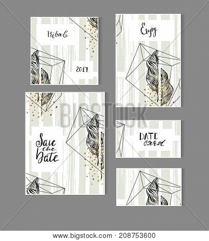 Hand drawn vector abstract modern tropical minimalistic save the date card set template with exotic palm leaf in pastel green and gold colors.Wedding, marriage, save the date, baby shower bridal, birthday