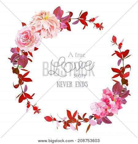 Autumn floral vector round frame with pink rose, peachy japanese dahlia, hydrangea, burgundy red barberry. Vibrant banner design. Fall ombre bunch of flowers. All elements are isolated and editable.