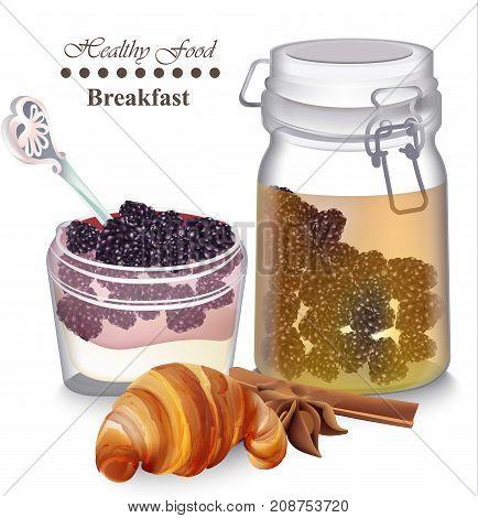 Sweet Delicious Breakfast Dessert Vector. Yogurt Parfait With Fruits, Croissant And Tea Realistic St