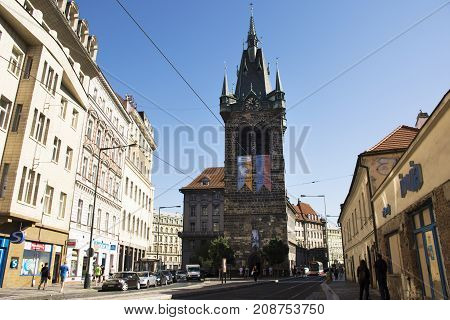 Czechia People And Foreigner Travelers Walking And Visit Henry's Bell Tower Or Jindrisska Tower In P