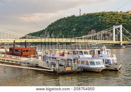 River cruise ships at the Elizabeth Bridge below the Gellert Hill - Budapest, Hungary, 18 July 2013