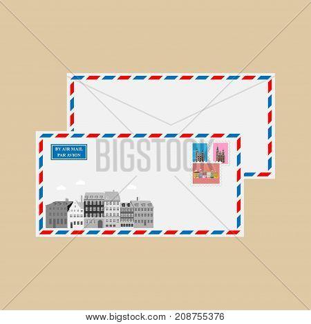 Air mail envelope with stamps, postmarks and Nyhavn Harbor and Rosenborg Castle, Copenhagen, Denmark. Vector illustration